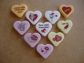 Valentijn snoepharten 40 mm 1 kg assortiment 4 of 2 kleuren