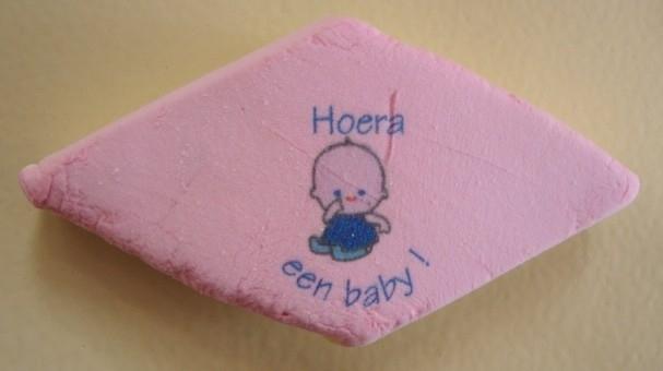 Hoera baby duim blauwe tekst