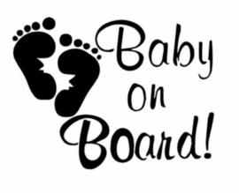 Autosticker: Baby on board zwart (voetafdruk)