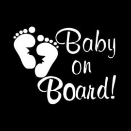 Autosticker: Baby on board wit (voetafdruk)