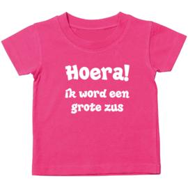 Kinder T-shirt: Hoera! ik word een grote zus