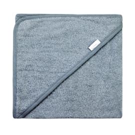 Luxe grey- blue badcape met naam geborduurd 80 * 80 cm