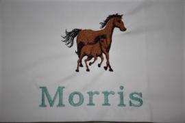 ledikantlaken met naam +  2 paarden