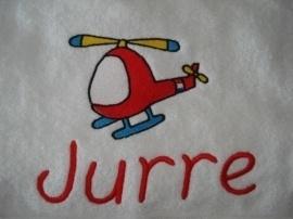 Handdoek met naam + helicopter