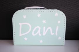 Mintgroen koffertje  met naam + sterretjes 25 cm