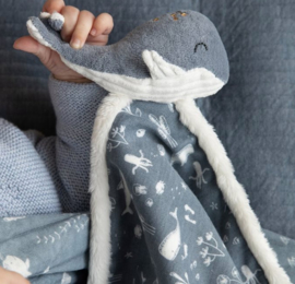 Knuffeldoek blauw walvis- Ocean Little Dutch