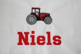 ledikantlaken met tractor rood + naam