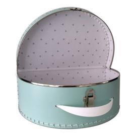 Lichtblauw koffertje 30 cm met naam