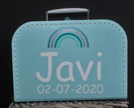 Koffertje met regenboog + naam