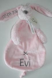 Lichtrose knuffeldoek konijn Rabbit Richie met naam