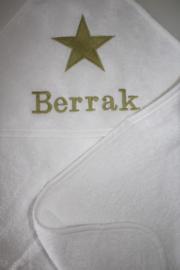 Luxe badcape  met naam + geborduurde ster