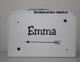Koffertje met pijl + naam + sterren