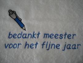 Handdoek met pen + tekst