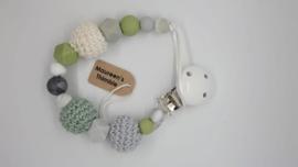 Mintgroen - lichtgrijs met witte clip