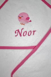 Badcape met naam + geborduurd vogeltje
