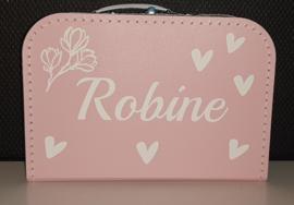 koffertje met naam, magnolia en hartjes