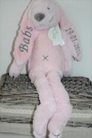 Lichtrose konijn Rabbit Richie met naam + datum 38 cm