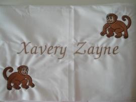 Ledikantlaken met naam of tekst en 2 aapjes