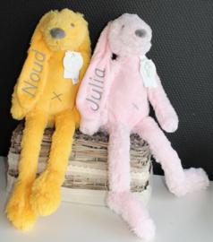 2 x Rabbit Richie met naam voor tweeling geborduurd Happy Horse