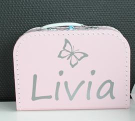 Koffertje met naam + vlinder
