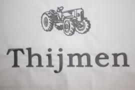 Ledikantlaken met naam + tractor