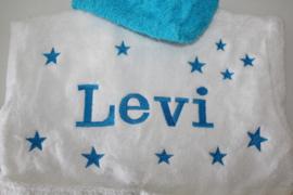 Luxe wit/ aqua badjas met naam + sterren achterkant ( 2-4 jr.)