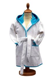 Luxe badjas wit / aqua met naam groot op de achterkant ( 2-4 jr)