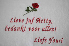 Luxe gastendoekje bedankt juf met rode roos