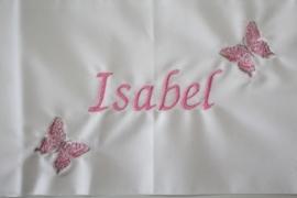 Wieglakentje met naam of tekst + 2 vlindertjes geborduurd