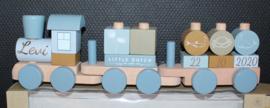 Blauwe houten trein Little Dutch met naam + datum
