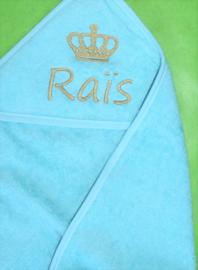 Luxe badcape met naam + kroontje geborduurd