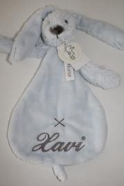 Lichtblauw Rabbit richie knuffeldoekje met naam ( Happy Horse)