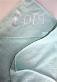 Luxe mintgroen badcape met naam geborduurd 80 * 80 cm