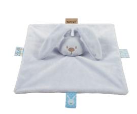 Knuffeldoek lichtblauw  LAPIDOU  met naam geborduurd Nattou