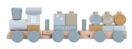Blauwe houten trein Little Dutch met naam