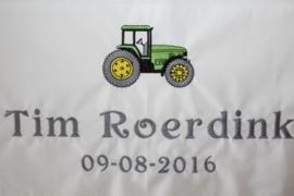 Ledikantlaken met tractor groen + naam