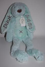 Mintgroen konijn Rabbit Richie met naam + datum 38 cm