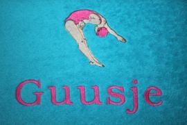Handdoek met naam + duikster- zwemdiploma