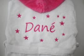 Luxe badjas met naam + sterren ( voor + achterkant)