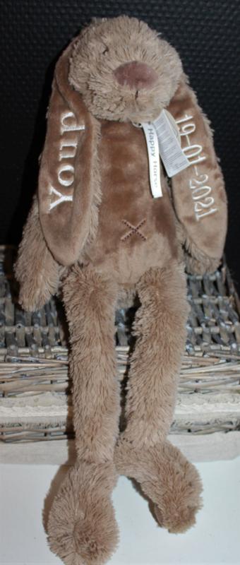 Bruin konijn met naam + datum 38 cm Happy Horse