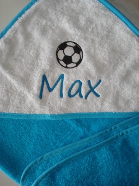 Badcape met naam en voetbal