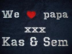 Handdoek we love papa + namen kindjes