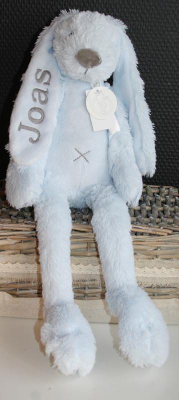 lichtblauw konijn happy horse met naam 38 cm ( Rabbit Richie)