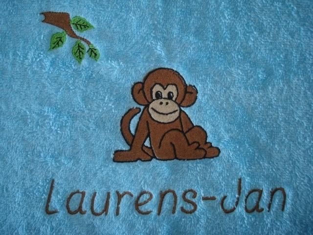 Handdoek met naam + aap