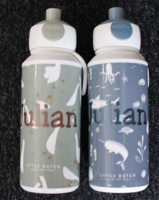 Drinkfles pop- up gansjes met naam Little Dutch- Mepal