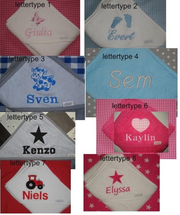 Badcape wit met naam + sterren