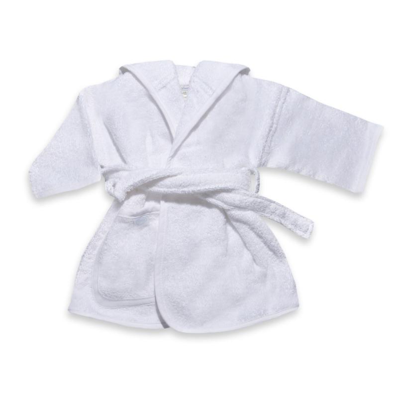 Wit badjasje met naam geborduurd 0-12 maanden