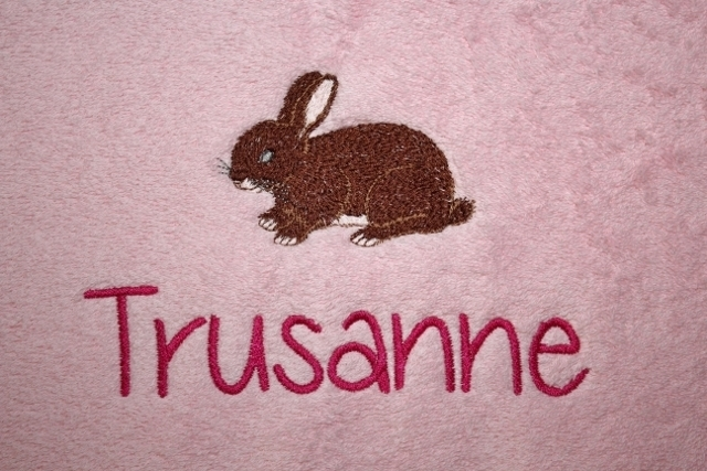 Handdoek met naam + konijntje