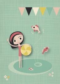 Postcard Meisje met strandbal