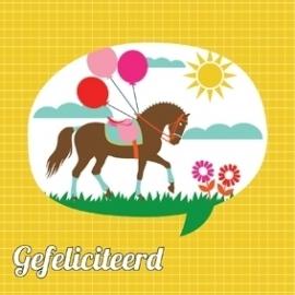 Wenskaart Gefeliciteerd Paard